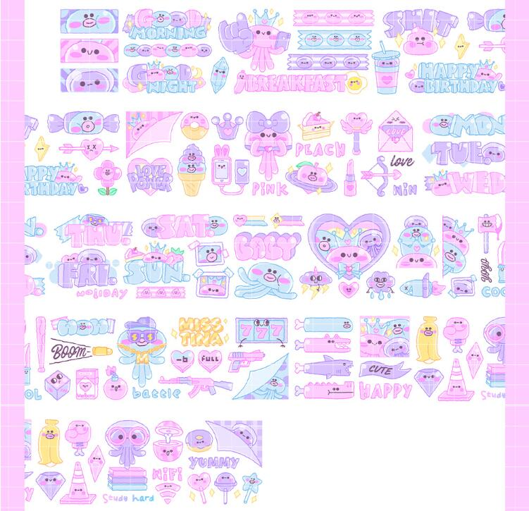 Special ink 45mm Original Kawaii cartoon bubblegum jellyfish lovely Decoration Washi Tape DIY Planner Scrapbooking Masking TapeSpecial ink 45mm Original Kawaii cartoon bubblegum jellyfish lovely Decoration Washi Tape DIY Planner Scrapbooking Masking Tape