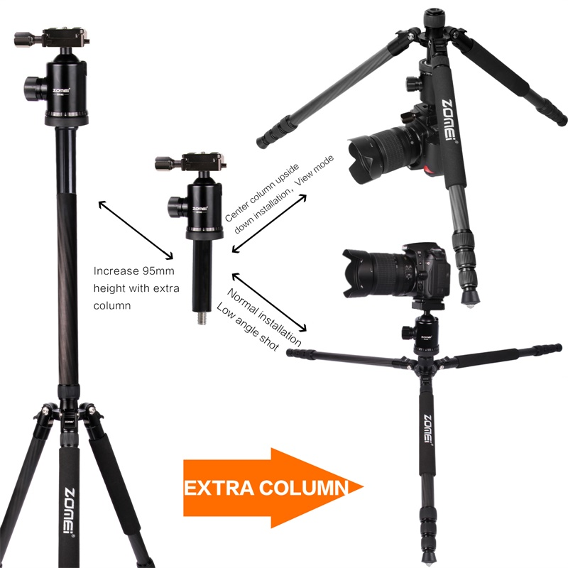 Zomei Z888C Professional Portable Carbon Fiber Tripod Stand with Ball Head Compact Travel -7