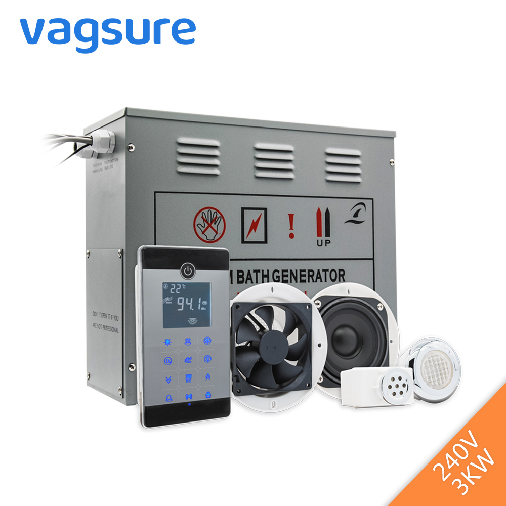 Alimentazione 3KW 220-240 v Piccolo Bagnato Generatore di Bagno di Vapore Sauna Per Doccia Spa Con bluetooth Accessori di Sicurezza valvola di Scarico Automatico