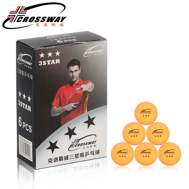 Crossway 6pcs/box Professional Table Tennis Ball 40mm Diameter 2.7g 3 Star Ping Pong Ball for Competition Training Low Pirce