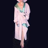 2018 WInter Sweet Pink Long Jacket Coat Women Runway Designer V Neck Lace Up Sashes Female Christmas Party Overcoat Clothing