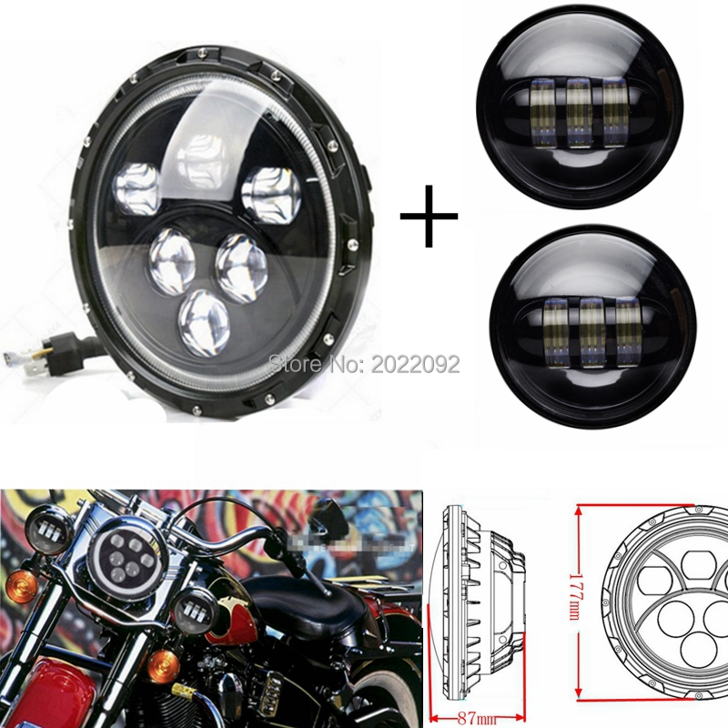 1x 7 Inch Black Harley Daymaker LED Headlight with 2x 4-1/2 Fog Light Passing Lamps for Harley Motorcycle 4 1 2 led spot fog passing motorcycle light dot ce body material aluminum die cast housing bike headlight body color black