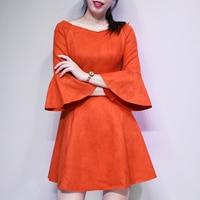 Autumn Winter New Fashion Women Customize Made Plus Size 3XS 10XL Suede Dress Ladies Elegant High Waist Flare Sleeves Dresses