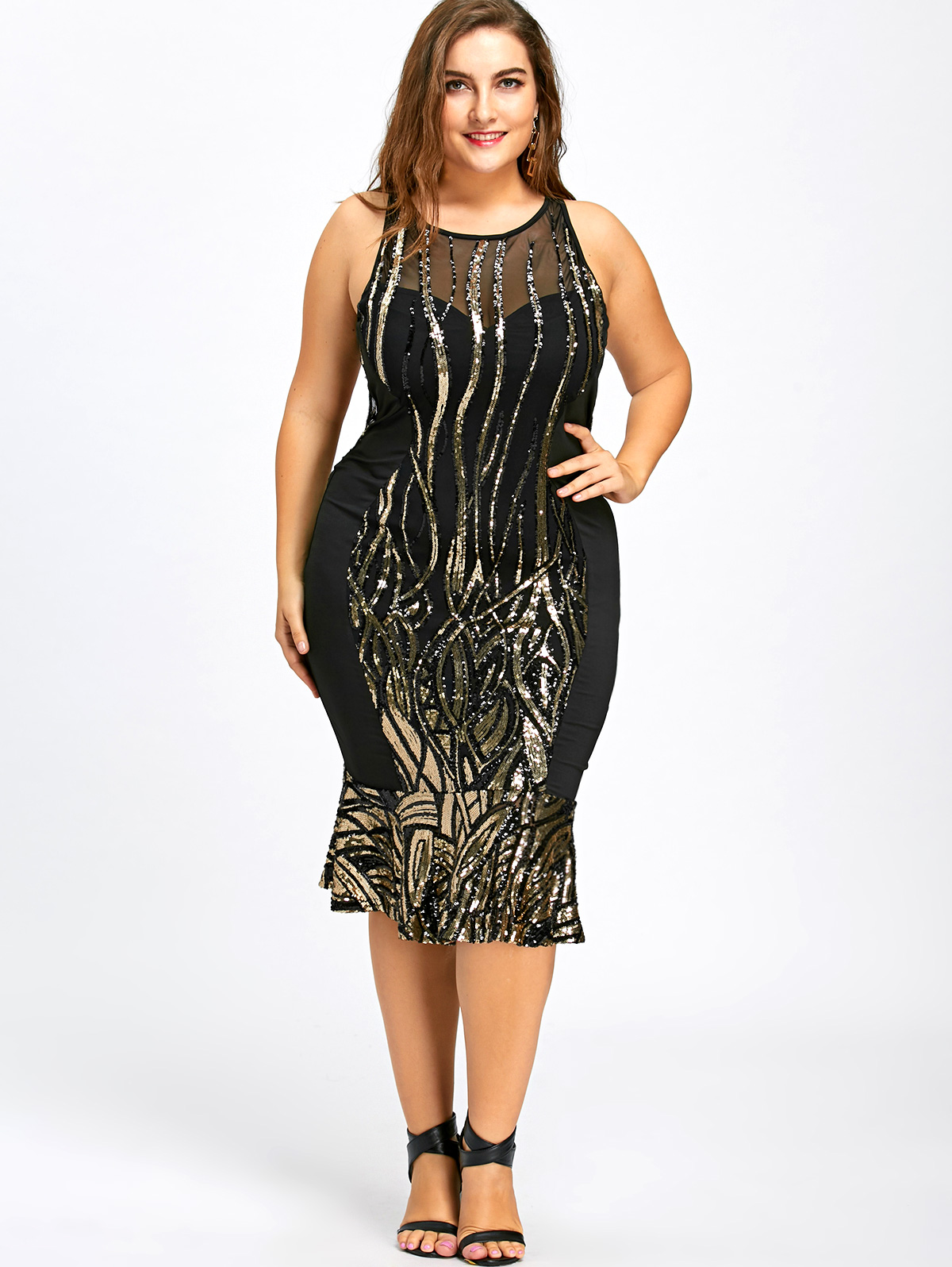 Gamiss Women Dress Sequin Plus Size 5XL 4XL Mermaid Bodycon Dress  Sleeveless Sexy Open Back Party Female Dress Vestidos-in Dresses from  Women s Clothing on ... fb224d79642a