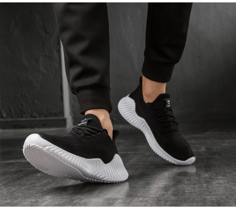KJEDGB 2019 New Ultralight Men Casual Shoes Solid Black White Gray Breathable Comfortable Sneakers Big Size 39-47 Male Shoes