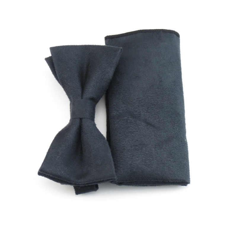 Mantieqingway ブルーソリッドクラシックスエードジャカードキャンディーカラー男性ボウタイ自己ハンカチ蝶ネクタイセットポケット正方形 Handkies スーツ