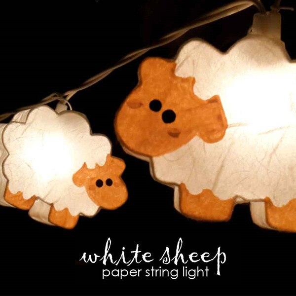 2018 3 м 220 В 20 шт. Овцы модели Бумага строка Освещение ночника малыш Украшения для детской Праздничные огни ЕС/ великобритания <font><b>Plug</b></font> Luminaria