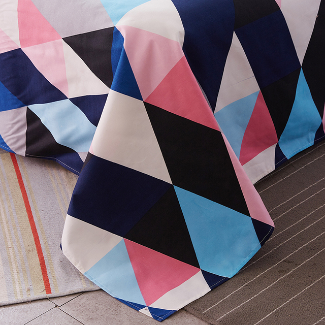 Colorful Twin Flat Sheets King Size Pretty Geometric Plaid Bed ...