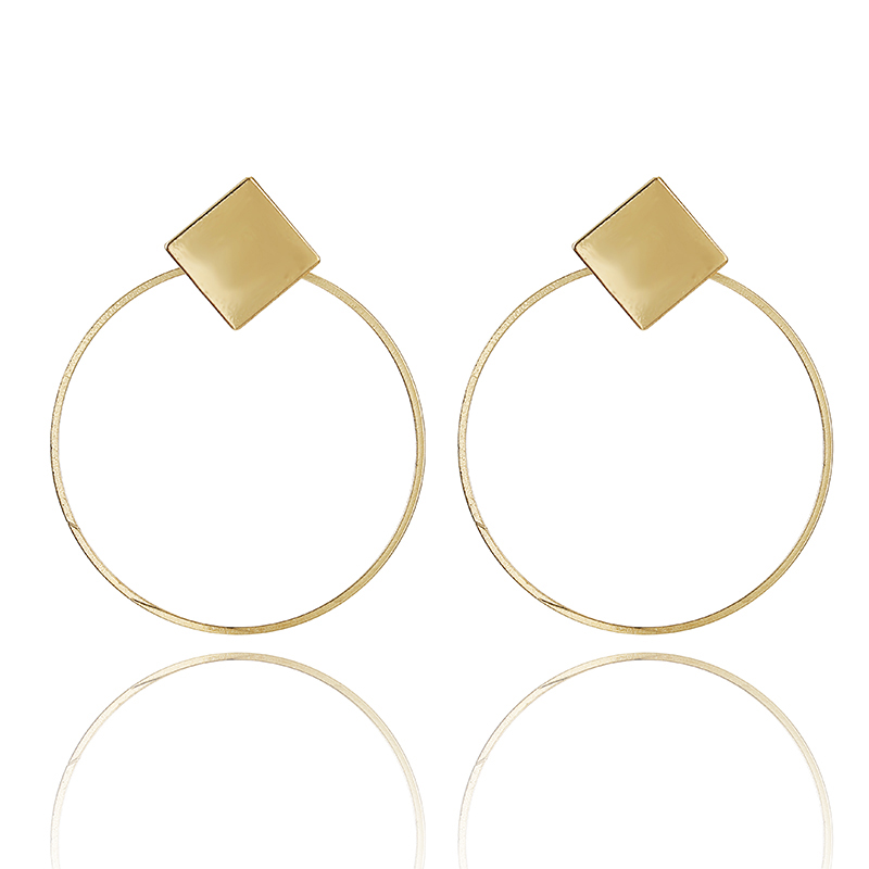 New Gold Metal Earrings For Women Girls Round Geometric Earrings Indian Brincos Accessories Female Vintage Circle Earrings 2019 2