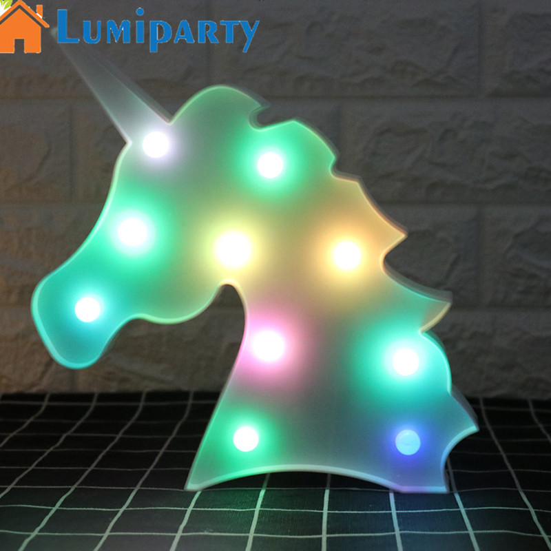 LumiParty Colorful Unicorn Night LED Lamp Cartoon Night Light Lamp Bed Light Home Office Decoration Birthday Gift Warm white remote control colorful cartoon led decoration night light