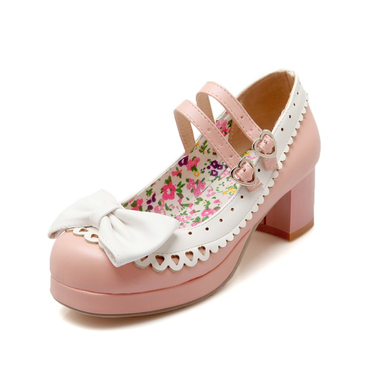 The new Japanese Lolita sweet bow shoes color thick soled shoes with thick Lolita heart-shaped hasp maid size shoes