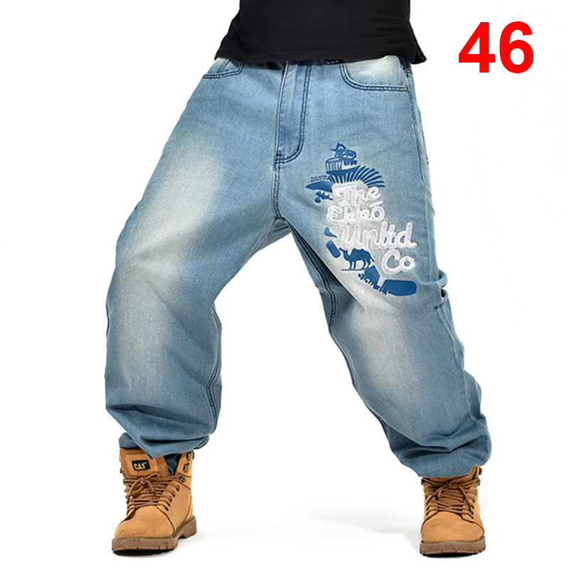 Embroidery Baggy   Jeans   Men Denim Pants Loose Streetwear   Jeans   Hip Hop Casual Skateboard Pants for Men Plus Size Trousers S097