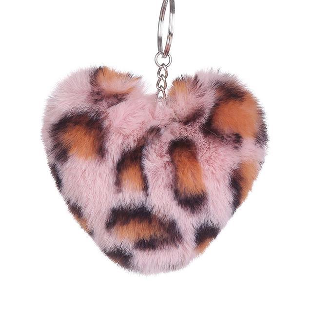 Pompom Fluffy KeyChain Pom Pom Leopard Heart Faux Rabbit Fur Silver Key Ring  Charm For Women Handbag Car phone Pendant Xmas Gift 128bd3971