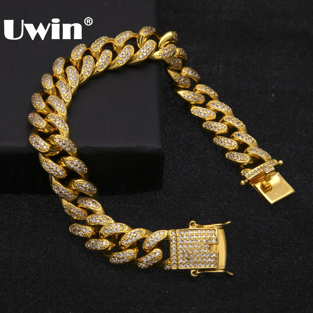 Uwin Hip Hop Luxury Crystal Cz Zircon Triple Lock Bracelet 14mm Cuban Link Box Clasp Bracelet Men Female Jewlery Drop Shipping