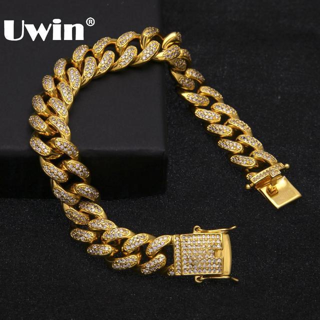 Uwin Hip Hop Luxury Crystal Cz Zircon Triple Lock Bracelet 14mm Cuban Link Box Clasp Bracelet Men Female Jewlery Drop Shipping
