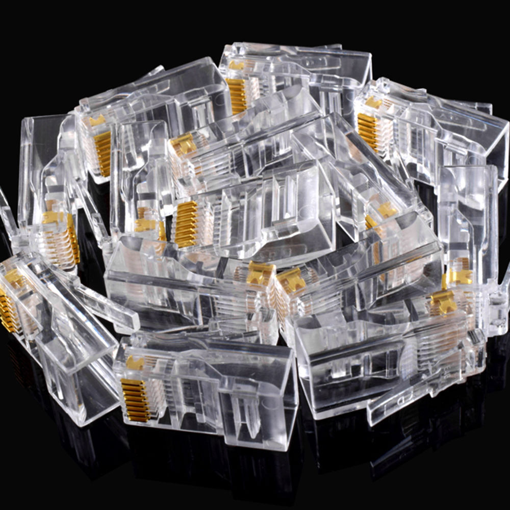 25Pcs Gold Plated RJ45 Net Network Modular Plug Cat5 CAT5e Connector New Drop Shipping