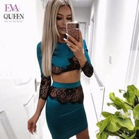 Evaqueen Womens Hollow Out Lace Dress Elegant Wedding Party Sexy Night Club O Neck Long Sleeve Sheath Bodycon Lace Dress Short
