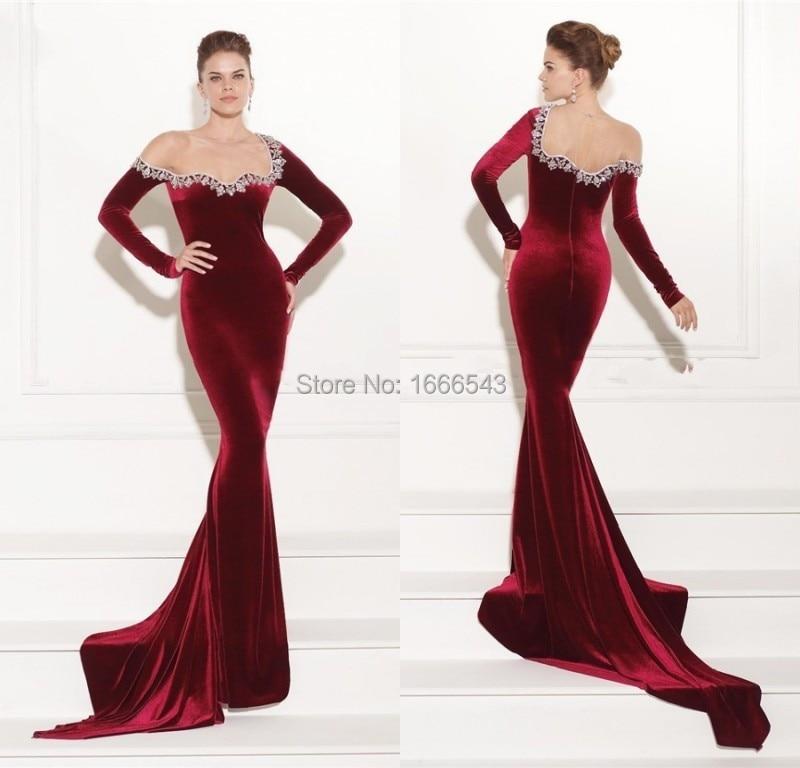 Elegant Women Formal Gown Velvet Mermaid Long Sleeves Beaded Red