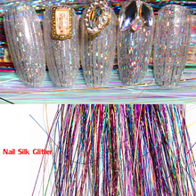 5colors Holographic Glitter Nail Art Silk Thread Shining Stripe Line of Laser Manicure 3D Sticker Sparkles CPD3