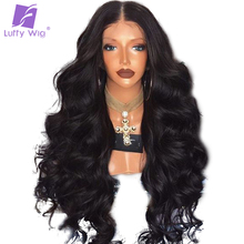 Luffy Pre Plucked Glueless Peruvian Full Lace Human Hair Wigs With Baby Hair Natural Color Non Remy Wavy Hair For Black Women