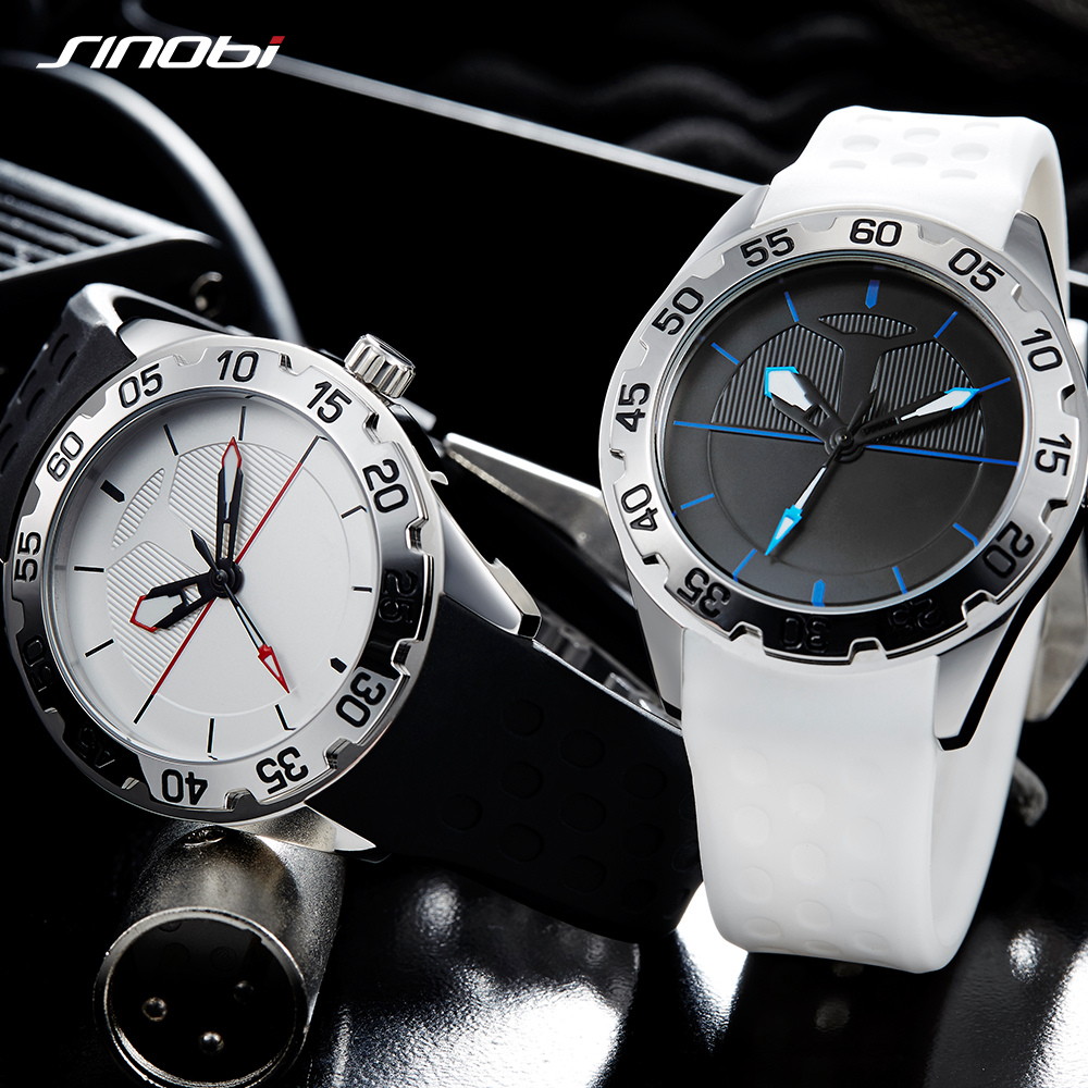 SINOBI Mens Watches Waterproof Stainless Watch Silicone Band Sport Watch Casual Quartz Wristwatch High Quality Analog Clock