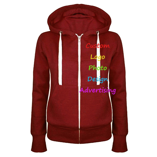 Oversized Hooded Sweatshirt Custom Made Logo Photo Print Autumn Women Zipper  Pockets Hoodie Rock Punk Tops 32adc71678