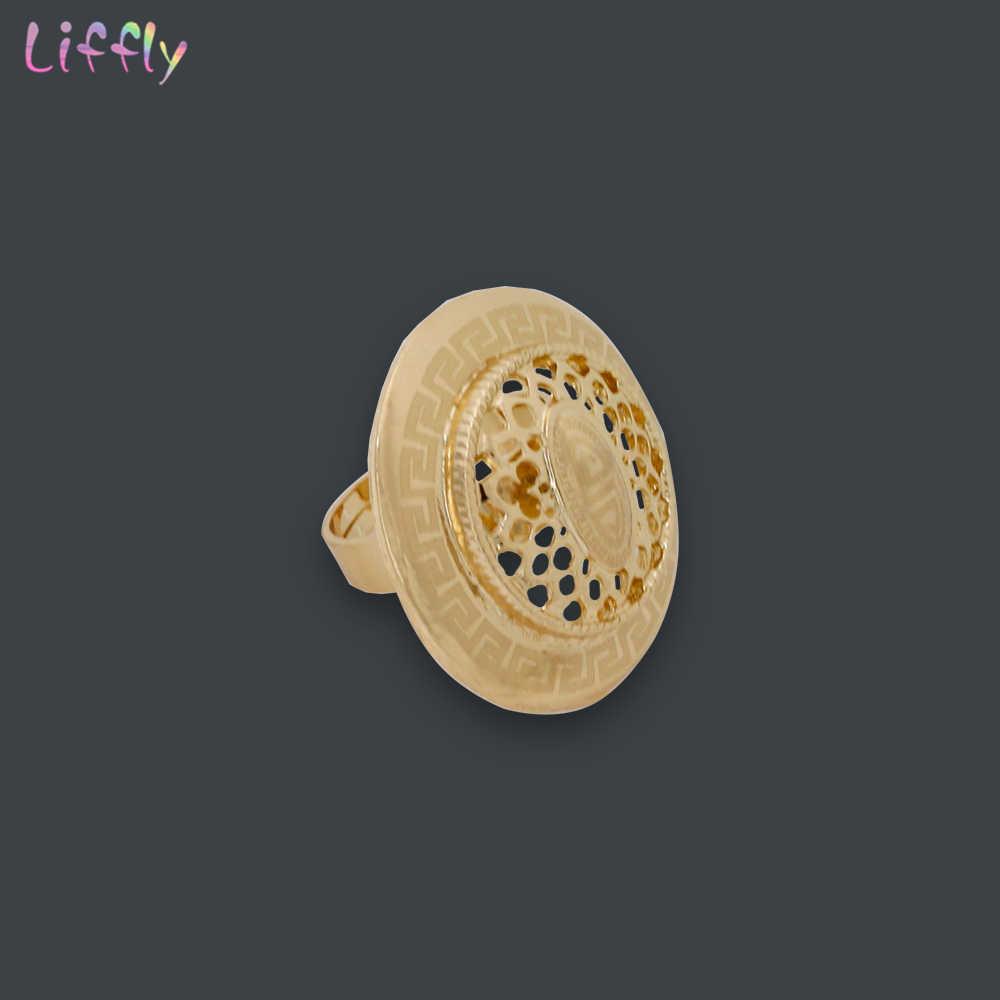 Liffly Ювелирные наборы для невест, для Для женщин индийское свадебное Цепочки и ожерелья, серьги, кольцо, браслет ювелирные изделия Дубай ювелирные изделия из золота ювелирные наборы