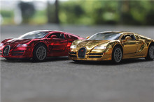 1 32 free shipping electroplate Bugatti Alloy Diecast Car Model Toy Car model Electronic Car with