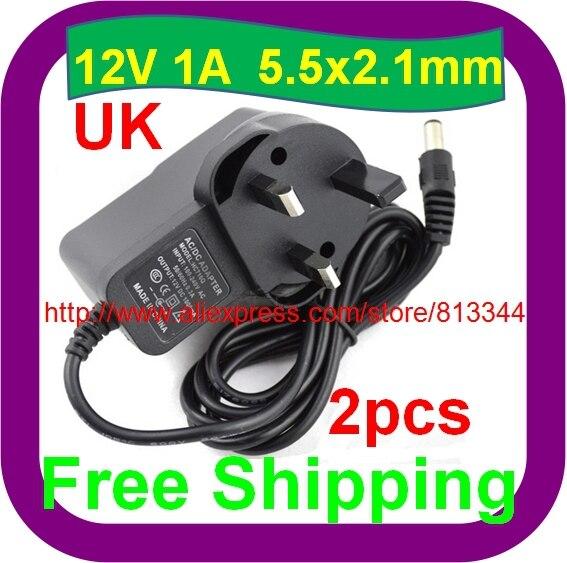 2 pcs Free Shipping CCTV Camera UK Power Supply 12v 1A 1000mA AC DC Adapters