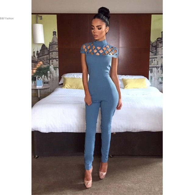 New Fashion Women Hallow Out Design Sleeveless Slim Long Jumpsuit