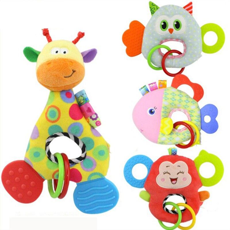Soft Stuffed Animal Baby Rattle Dolls Plush Fish Owl Monkey Giraffe Crib Stroller Bed Bell Teether Kids Toys For Newborn BI026