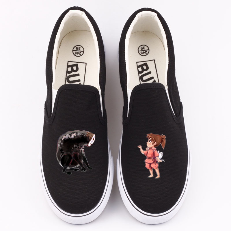 No-Face Men Anime Custom Printed Canvas Shoes Loafers Japanese Cartoon Design Male Spring And Summer Flat Casual Shoes Slip-on z suo men s shoes pure color denim casual shoes men s wear in spring and summer of canvas shoes with flat sole zs16106