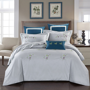 4pcs Linen Cotton Luxury Chinese embroidery Bedding Set/Bedclothes King Queen size Duvet Cover Bed Sheet set Pillowcases 36