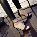 2017 Concise Suede Nu Sandálias de Salto Alto Mulheres Vestido de Lantejoulas com Tira No Tornozelo de Verão Sapatos Mulher Sandálias de Dedo Aberto ML01