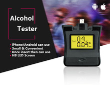 NEW Phone Alcohol Tester LCD Backlit Display Car-Detector Breathalyzer Alcotester For iPhone Huawei With Key Chain Alcoholimetro