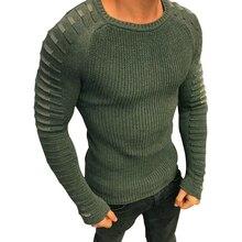 سترة الرجال 2019 جديد عادية سليم صالح البلوز رجل الخريف الرقبة المستديرة محبوك مخطط المرقعة الشتاء الدافئة العلامة التجارية الكلاسيكية سترة
