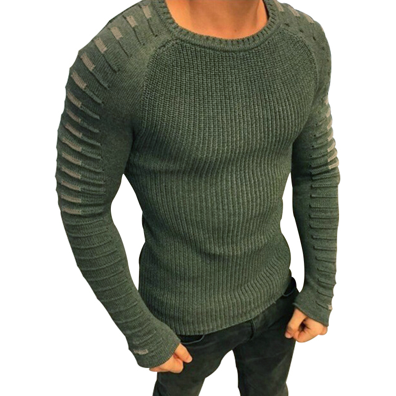 Winter Men Casual Warm Slim Sweater Knitted Striped Long Sleeve Patchwork Pullover Male Elastic Solid Sexy Spring Basic Tops