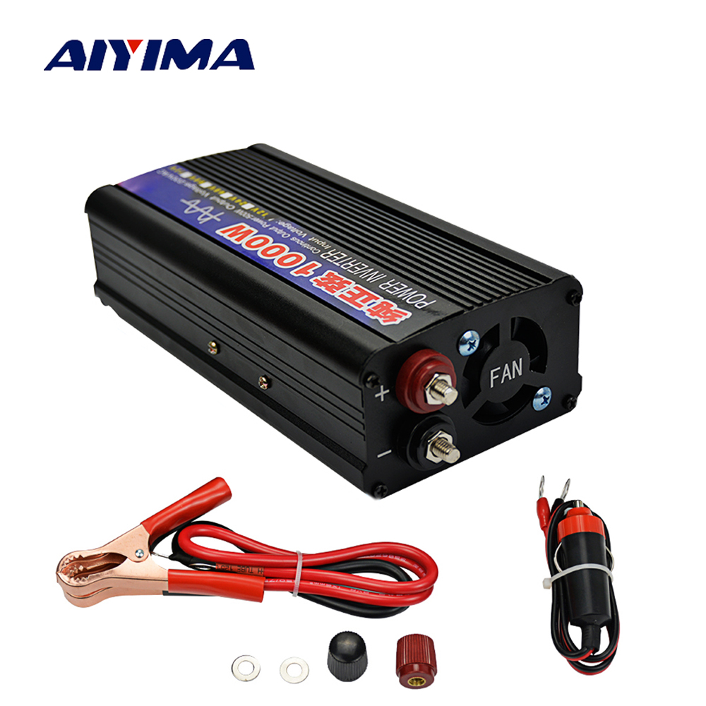 Aiyima Inverter Gelombang Sinus Murni 1000 W DC12V/24 V untuk AC220V 50Hz Power Converter Booster Voltage Transformer