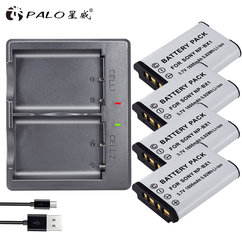 PALO 4 pcs NP-BX1 batterie NP BX1 NPBX1 + Double bateria chargeur Pour Sony NP-BX1 HDR-AS200v AS15 AS100V DSC-RX100 x1000V WX350