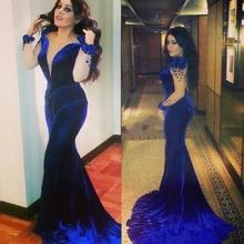 Royal Blue Velvet Prom Dress Mermaid Sheer Neck Beads Evening Ball Pageant Gowns