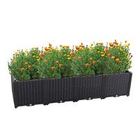 Garden Planter Growing Box Pots Single Row Deepened Vegetables Flowers Succulents Patio Yard Black HP020 7/8/9/10/11