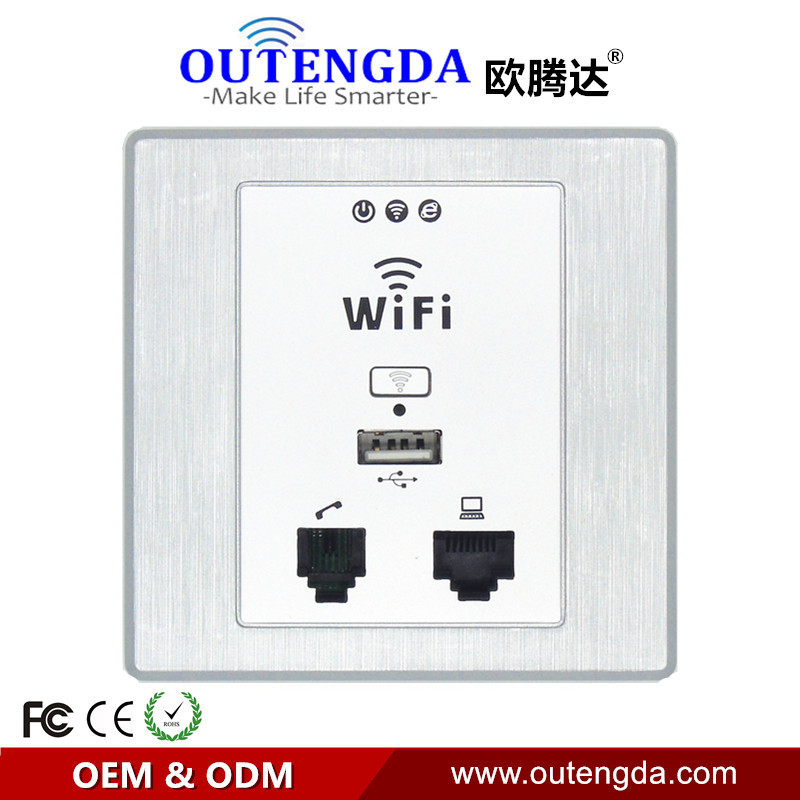 2017 New Item WPL6058 300Mbps Drawing Silver Panel Indoor 86 Socket PoE WiFi Router in Wall AP Wireless Access Point image