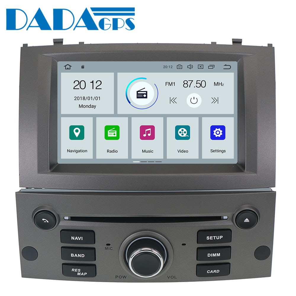 Newest Android 9.0 Car Multimedia radio Stereo DVD Player Vehicle for Peugeot 407 2004-2010 Sat nav Audio GPS map Navigation
