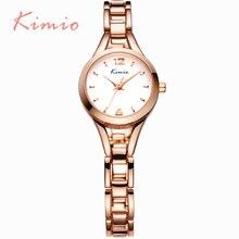 KIMIO Elegante Esqueleto de Oro Rosa Reloj Pulsera Para Mujer Top Brand Señoras Impermeables Relojes de Cuarzo Classic relogios feminino