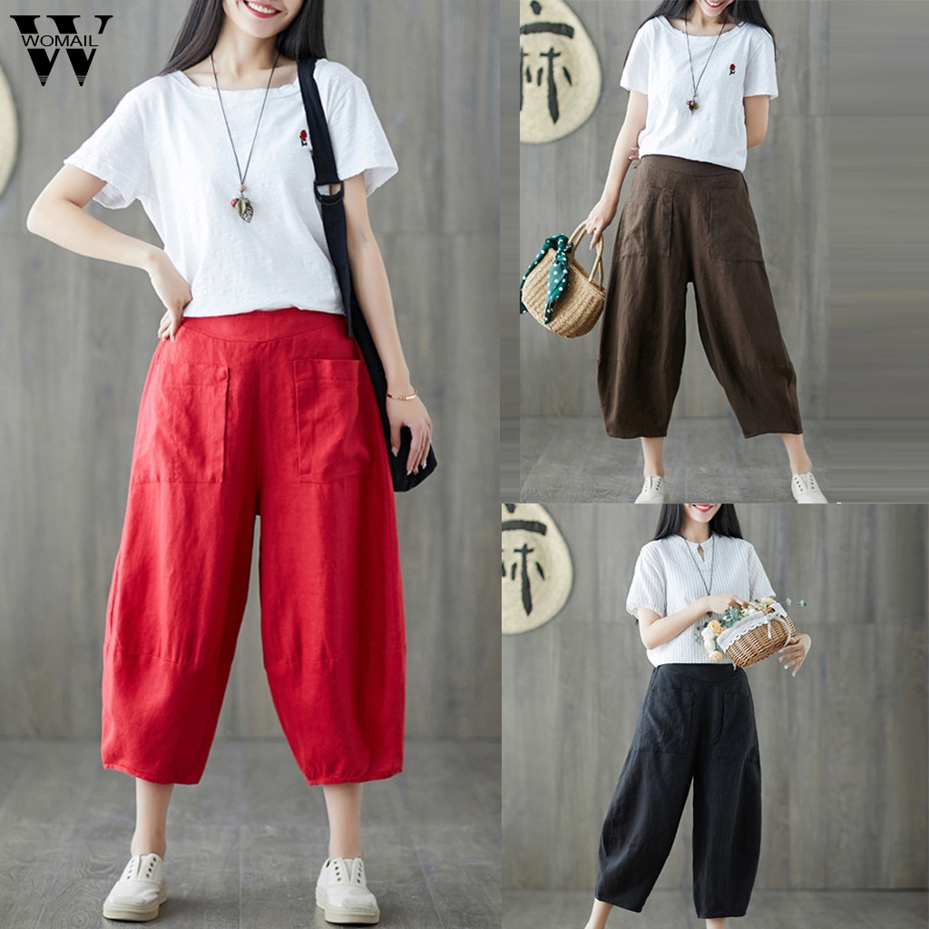 Womail Women Pants Summer Fashion Solid Loose Pants Casual High Waist Long Trousers Ladies Wide-leg Pants Daily Holiday M531