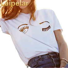 Laipelar Fashion Women T-Shirts 2018 Summer  Chiara Ferragni Big Eyes Printed Loose T Shirts For Woman Casual Tee Tops