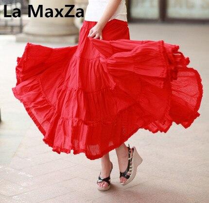 La Маца женские длинные юбки горячая распродажа лето весна богемный пляж комплект пуловер + кожаная юбка макси Танцы хлопок бальный наряд Женская юбка