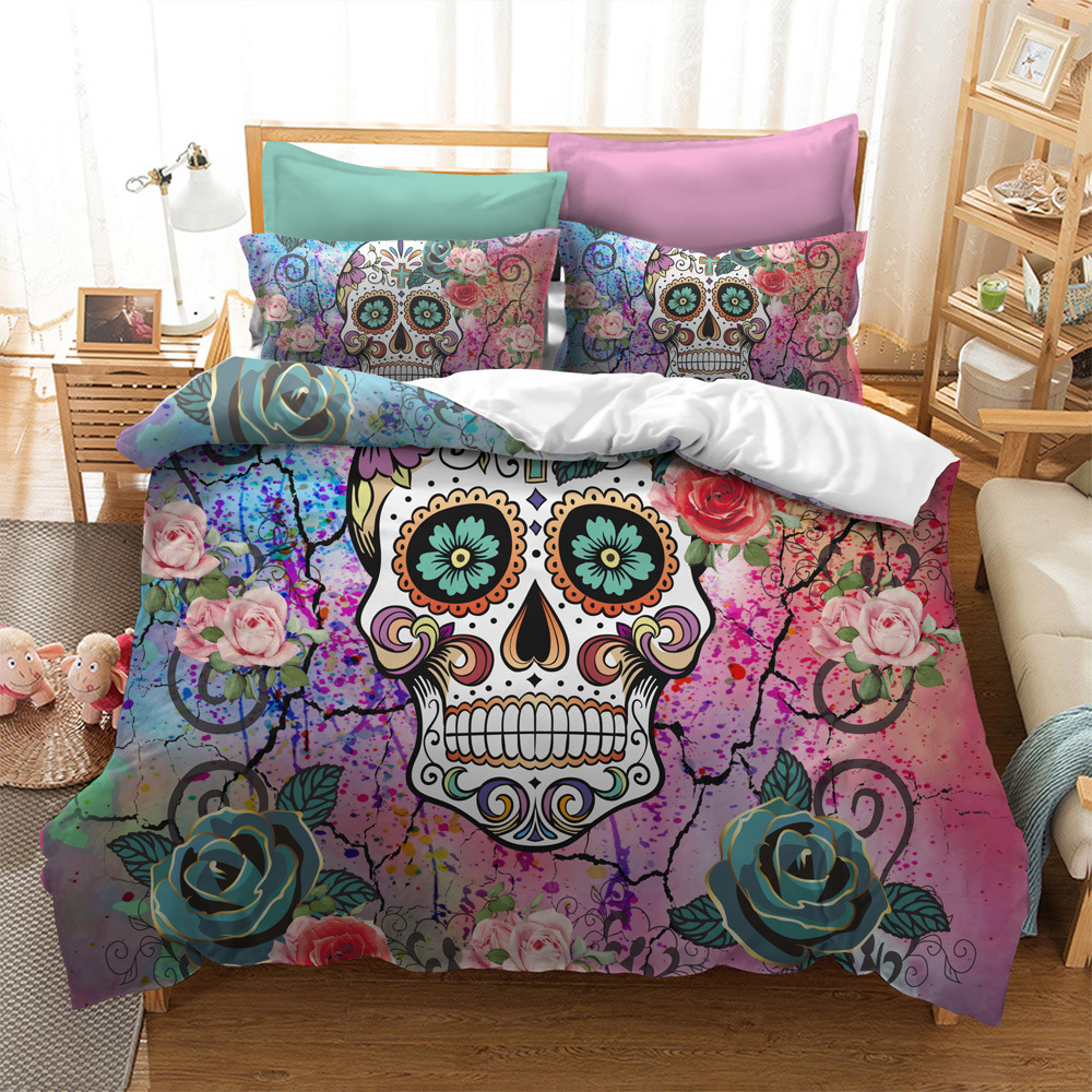 3D Skull wedding quilt cover bedding set Duvet Covers Pillowcases comforter bedding sets bedclothes bed linen sugar Skull in Bedding Sets from Home Garden