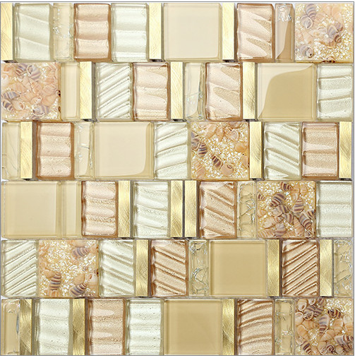 NEW! Shell mosaic mother of pearl natural kitchen backsplash glass metal wallpaper tile bathroom background shower decor,LSBKGA rose gold stainless steel metal mosaic glass tile kitchen backsplash bathroom background decorative art mosaic wall tile sa073 9
