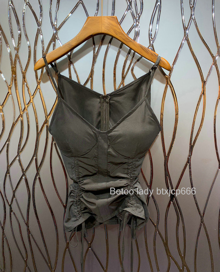 Sleeveless Top Tank-Tops Drawstring Ribbon Sexy Solid-Color Women Slim Folds Female Personality